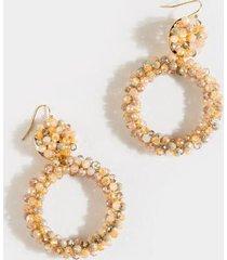 eulissa glass circle drop earrings - pale pink