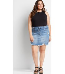 plus size kancan™ womens high rise medium wash belted skirt blue - maurices