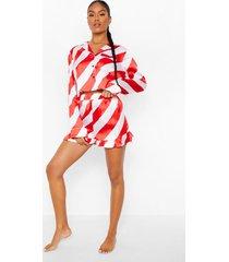 candy cane gestreepte pyjama set met shorts, red