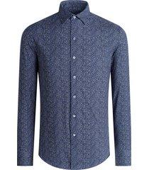 men's bugatchi print stretch cotton button-up shirt, size large - blue