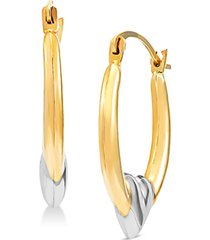 two-tone heart hoop earrings in 14k gold & white rhodium-plate