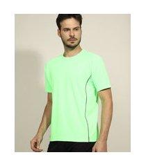 camiseta masculina esportiva ace com vivo manga curta gola careca verde neon
