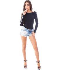 body moda vício manga longa preto com faixa