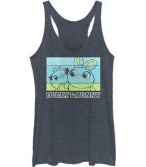 disney pixar juniors' toy story 4 duckie and bunny tri-blend tank top