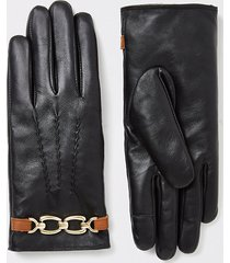 river island womens black chain faux fur lined leather gloves
