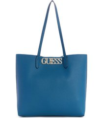 cartera uptown chic barcelona tote azul guess