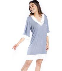 camisão feminino azul com cetim off white