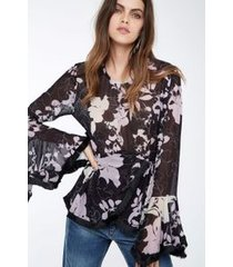 bata seda franja estampada floral opuwo lilás