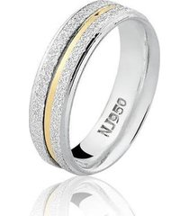 aliança feminina natalia joias de prata 925 com filete de ouro