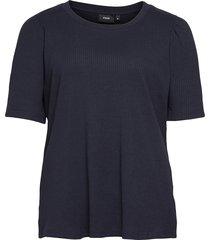 t shirt rib plus puff sleeves round neck blouses short-sleeved blå zizzi