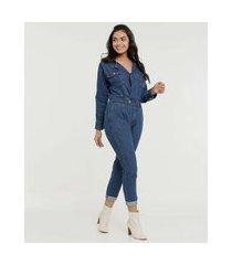 macacão feminino manga longa zune jeans