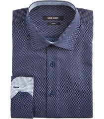 nine west men's slim-fit wrinkle-free performance stretch navy & white dots print dress shirt