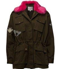 canvas army jacket w. fur collar & outerwear jackets utility jackets groen coster copenhagen