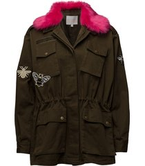 canvas army jacket w. fur collar &