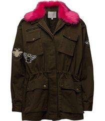 canvas army jacket w. fur collar & zomerjas dunne jas groen coster copenhagen