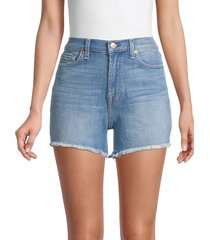 7 for all mankind women's frayed denim shorts - sea star blue - size 30 (8-10)