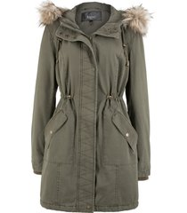 parka in cotone con ecopelliccia (verde) - bpc bonprix collection