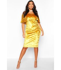 plus crushed velvet bardot ruffle midi dress, mustard