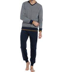 pastunette heren pyjama met v-hals grijs-blauw