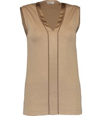 satin neck ribbed tank top