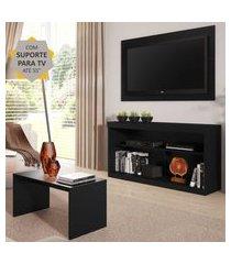 """rack com painel e suporte para tv até 55"""" com mesa de centro inovare multimóveis preto"""
