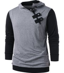 panel snap button embellished casual hoodie