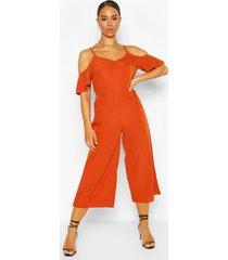 strappy cold shoulder culotte jumpsuit, rust