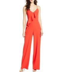 women's alice + olivia keeva ruffle jumpsuit, size 6 - red
