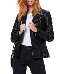 women's paige dita belted leather jacket, size x-small - black