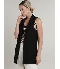 colete feminino longo com bolsos preto