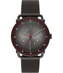 ax armani exchange men's rocco black stainless steel mesh bracelet watch 44mm