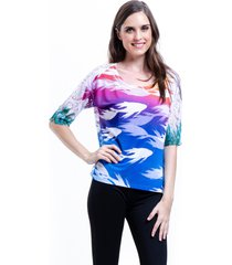 blusa 101 resort wear tunica renda estampada manchas azul