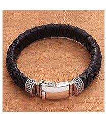 men's leather braided wristband bracelet, 'jagaraga swirl' (indonesia)