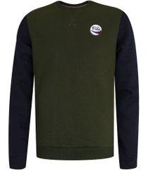 blusão de moletom fila allure - masculino - verde esc/azul esc