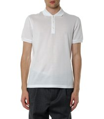 salvatore ferragamo white cotton logo polo shirt
