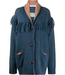 philosophy di lorenzo serafini chunky knit fringed detail cardi-coat -