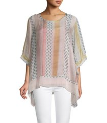 mixed-print silk top