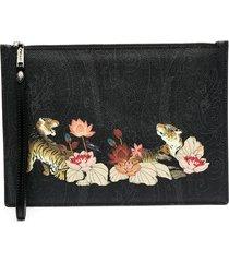 etro leopard paisley print clutch bag - black