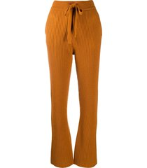 dorothee schumacher ribbed-knit flared trousers - orange