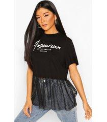 slogan dobby mesh frill t-shirt, black