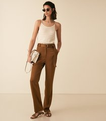 reiss primrose - satin belted straight leg trousers in tobacco, womens, size 12