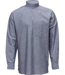 collar stand shirt with zipper detail overhemd casual blauw tonsure