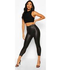 high waist cropped wet look legging, black