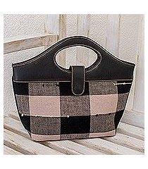 cotton and leather handbag, 'maya chess' (guatemala)
