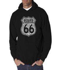 la pop art men's word art hooded sweatshirt - route 66 - life is a highway