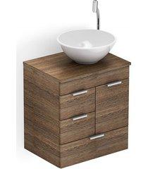 gabinete para banheiro em mdf com cuba redonda basic 50x38cm wengué