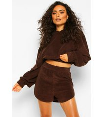 mix & match fleece lounge top met rits, chocolate