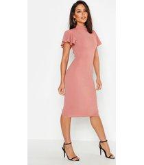 high neck frill sleeve midi dress, rose
