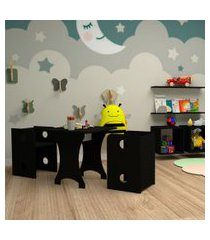 conjunto de mesa quadrada infantil com 2 bancos   banquetas kitcubos preto