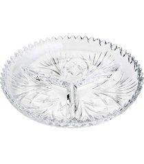 petisqueira lyor com 3 divisórias de cristal pluma transparente